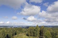 Nubes de cúmulo sobre bosque y el lago Fotos de archivo libres de regalías