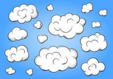 Nubes de la historieta en fondo azul Fotografía de archivo libre de regalías
