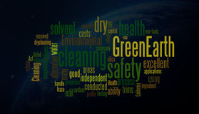 Nubes de la palabra de la tierra verde Imágenes de archivo libres de regalías