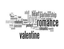 Nubes de la palabra del Info-texto de la tarjeta del día de San Valentín del amor Imagenes de archivo