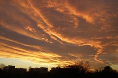 Nubes de la puesta del sol, igualando el cielo Fotografía de archivo libre de regalías