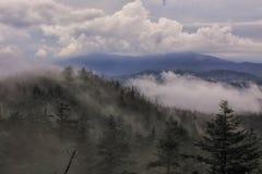 Nubes de lluvia que cruzan un top del canto apenas debajo de la bóveda GSMNP de Clingmans Fotos de archivo libres de regalías