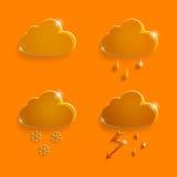 Nubes de los iconos del tiempo de la naranja de cristal Foto de archivo libre de regalías