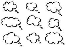 Nubes de pensamiento del garabato, burbujas de la historieta de la charla Sistema dibujado mano Fotos de archivo libres de regalías