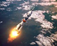 Nubes de Rocket Launch In The Pink del portador Imagen de archivo