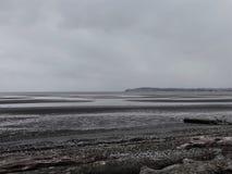 Nubes de tormenta del invierno que cuelgan sobre bahía del abedul Foto de archivo