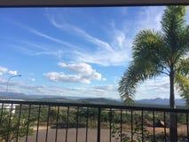 Nubes del cielo azul de la palmera Foto de archivo libre de regalías