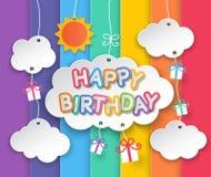 Nubes del feliz cumpleaños y fondo del cielo del arco iris Imagenes de archivo
