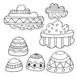 Nubes del invierno y sistema dibujado mano de las rocas Imagen de archivo libre de regalías