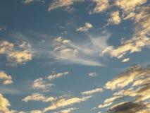 Nubes del panel coloreadas en un cielo azul fotografía de archivo libre de regalías