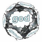 Nubes del pensamiento de dios que piensan la religión espiritual de la creencia de la fe stock de ilustración