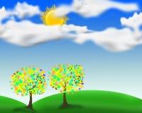 Nubes del sol del árbol Imagen de archivo libre de regalías