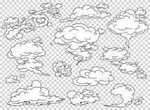 Nubes del vapor del cómic fijadas Ejemplo blanco del vector del humo de la historieta Empañe el clipart aislado plano para el dis stock de ilustración