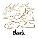 Nubes dibujadas mano de la caligrafía, poniendo letras al ejemplo Imagenes de archivo
