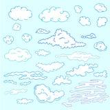 Nubes drenadas mano ilustración del vector
