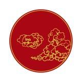 Nubes en el estilo chino en un círculo stock de ilustración