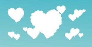 Nubes en forma de corazón Imágenes de archivo libres de regalías