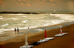 Nubes en la playa Imagen de archivo libre de regalías