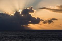 Nubes en la puesta del sol Fotografía de archivo