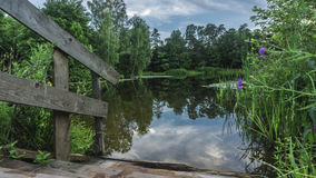Nubes flotantes que son reflejadas en el pequeño lago pacífico del parque Foto de archivo libre de regalías