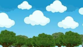 Nubes lindas e hinchadas de la historieta que asoman en un cielo azul sobre los árboles