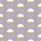 Nubes lluviosas en el fondo estrellado violeta libre illustration