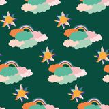 Nubes maravillosas coloridas, sol y arco iris, en un diseño inconsútil del modelo libre illustration