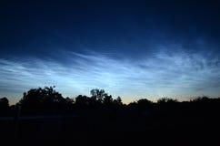 Nubes noctilucientes Imagenes de archivo