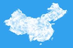 Nubes que forman la forma de China Fotos de archivo libres de regalías