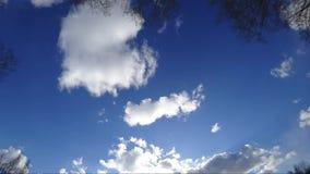 Nubes que vuelan a través del cielo azul, iluminado por los rayos del sol metrajes