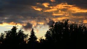 Nubes rojas hermosas en la puesta del sol almacen de video