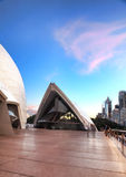 Nubes rosadas sobre Guillaume en Benelong, teatro de la ópera, Australia Imagen de archivo libre de regalías