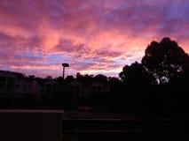 Nubes rosadas y púrpuras Imagen de archivo libre de regalías