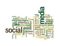 Nubes sociales de la palabra de los gráficos del Info-texto de los media Fotos de archivo