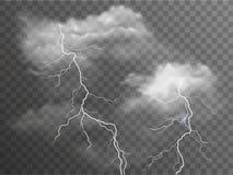 Nubes tempestuosas realistas del vector con efectos del relámpago aisladas sobre fondo oscuro imágenes de archivo libres de regalías