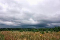 Nubes tormentosas, bosque y campo, paisaje natural Imágenes de archivo libres de regalías