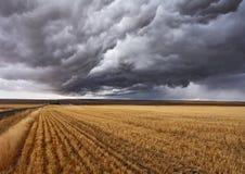 Nubes tormentosas sobre campos foto de archivo
