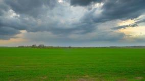 Nubes verdes del campo y de tormenta, time lapse panorámico almacen de metraje de vídeo