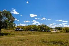 nubes y abedul blanco en el otoño Fotos de archivo