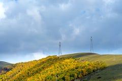 nubes y bosque de la montaña en el otoño Fotografía de archivo libre de regalías