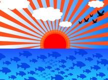 Nubes y costa Stock de ilustración