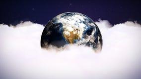 Nubes y gráficos de ordenador de la tierra, representación, fondo, lazo, 4k fotos de archivo libres de regalías