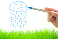 Nubes y lluvia del dibujo Fotografía de archivo libre de regalías
