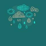 Nubes y lluvia del Doodle Fotos de archivo libres de regalías