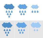 Nubes y lluvia Sistema de los iconos para la lluvia Ejemplo del vector para Foto de archivo libre de regalías