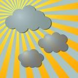 Nubes y rayos de la parte radial del sol stock de ilustración