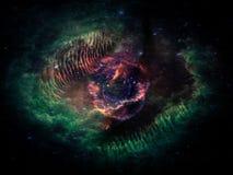 Nubi ardenti e stelle, forma di occhio immagini stock