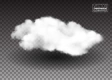 Nubi bianche lanuginose Elementi realistici di progettazione di vettore effetto del fumo su fondo trasparente Illustrazione di ve Fotografia Stock
