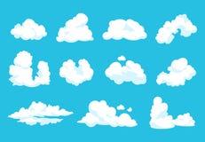 Nubi del fumetto Grafico nuvoloso di cielo dell'atmosfera del cielo di 2D forma piana pulita lanuginosa d'annata blu di simbolo I illustrazione vettoriale