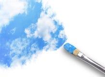 Nubi della pittura del pennello in cielo Fotografia Stock Libera da Diritti